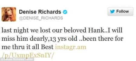 denise richards twitter mourns death of dog hank