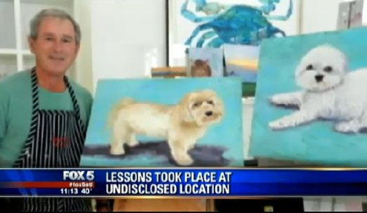 george bush dog puppy painter