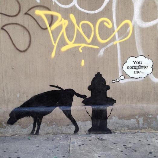 banksy dog art you complete me streetartnews